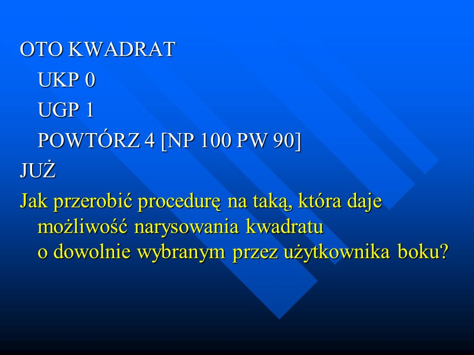 temat procedury z parametrami w logo komeniusz ppt